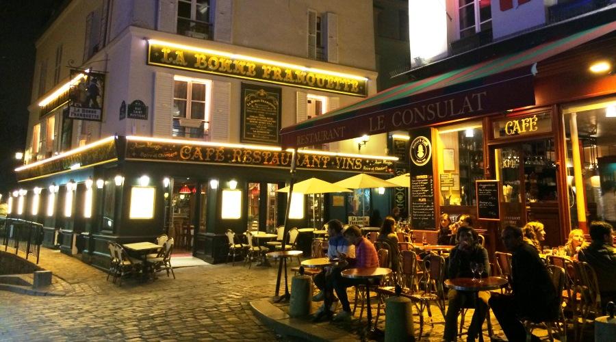 Парижские кафе ночью
